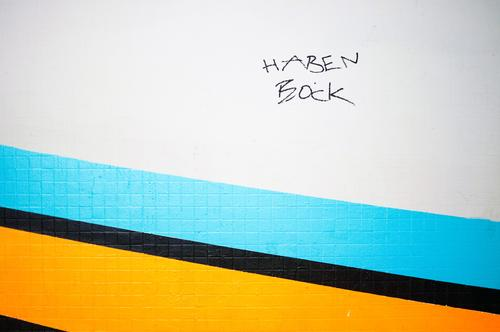 Bock haben Stil Mauer Wand Schriftzeichen Graffiti Coolness blau gelb schwarz weiß Stimmung Vorfreude Begeisterung Mut Entschlossenheit Ziel Motivation Farbfoto