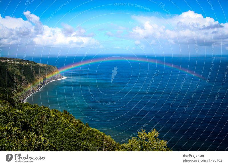 Regenbogenbrücke auf den Azoren Natur Ferien & Urlaub & Reisen Pflanze Sommer Landschaft Meer Ferne Berge u. Gebirge Umwelt Küste Glück Freiheit Tourismus