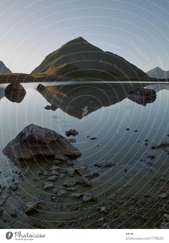 Seekogel am unteren Seewisee Natur blau Sommer ruhig Einsamkeit Ferne Berge u. Gebirge Freiheit See Stimmung Freizeit & Hobby Alpen Sehnsucht Gewässer Fernweh Sonnenaufgang