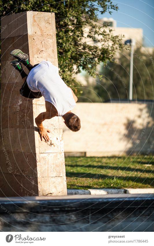 Junger Sportler zeigt Fertigkeiten des freien Laufens. Parkour Trick mit Stadtmauer Lifestyle Sommer Mensch Mann Erwachsene Baum Straße rennen Bewegung springen