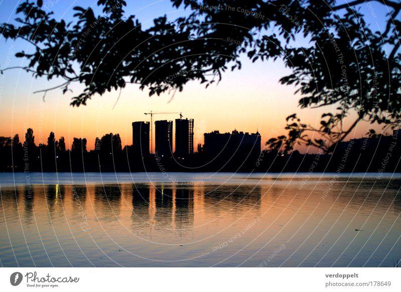 Halbdunkel Vollbunt Farbfoto mehrfarbig Innenaufnahme Menschenleer Abend Nacht Schatten Kontrast Silhouette Umwelt Luft Wasser Himmel Nachthimmel Park Teich See