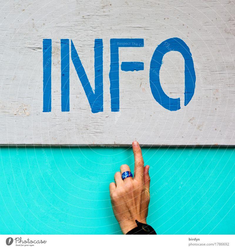 INFO Mensch blau Hand sprechen feminin grau Schriftzeichen ästhetisch Kommunizieren Hinweisschild Freundlichkeit Sicherheit Information Bildung Veranstaltung