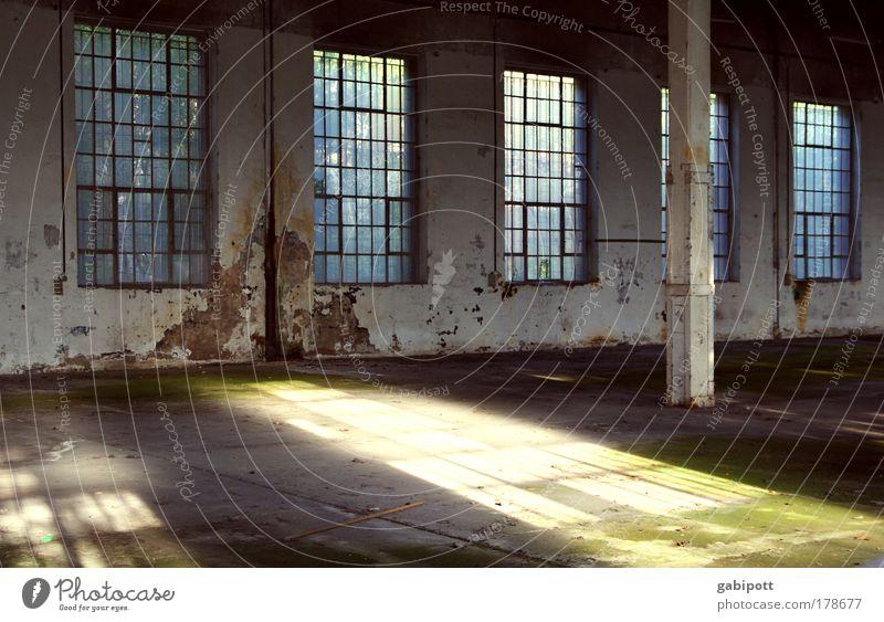 Leere blau weiß grün Fenster Wand Architektur Gebäude Mauer Traurigkeit Metall Glas Beton leer Wandel & Veränderung Trauer