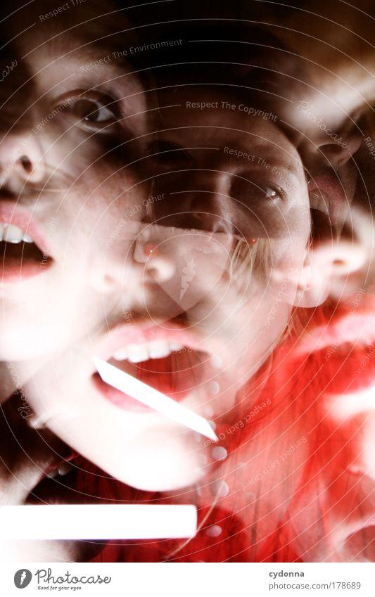 Noch schizophrener Frau Jugendliche Gesicht Leben Bewegung Angst Erwachsene Zeit bedrohlich Wandel & Veränderung Team Vergänglichkeit einzigartig geheimnisvoll