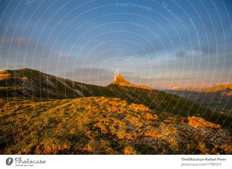 Spitzmeilen Umwelt Natur Landschaft blau braun gelb gold orange Abenddämmerung Abendsonne Schweiz Berge u. Gebirge spitzmeilen Flumser Berg Alpen grün