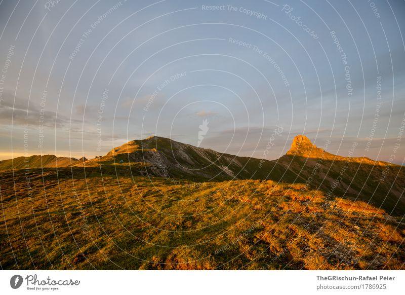 Spitzmeilen II Umwelt Natur Landschaft blau braun gelb gold orange Alpen Berge u. Gebirge Stimmung Sonnenuntergang Gras Licht Schattenspiel schön Schweiz