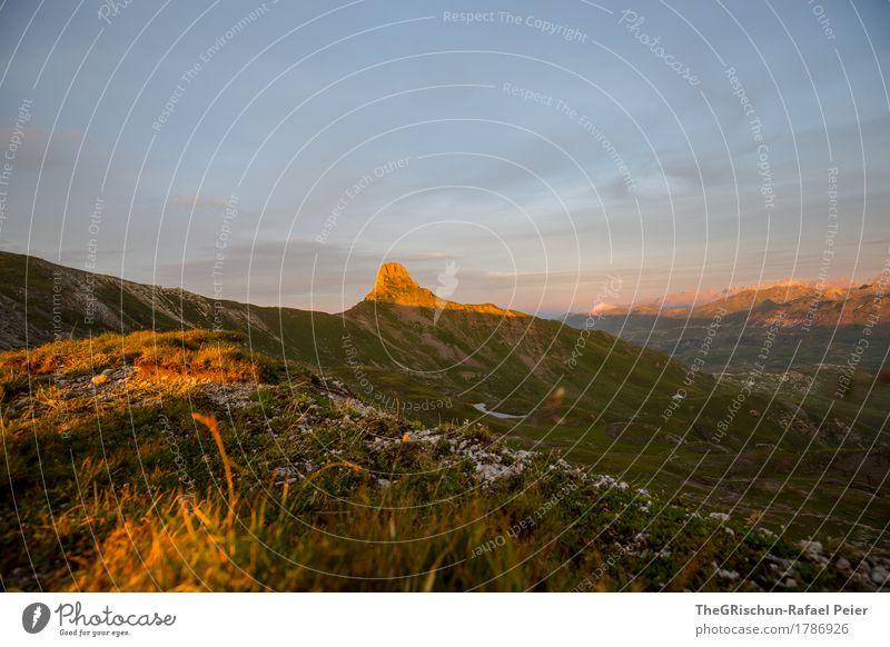 Spitzmeilen III Umwelt Natur Landschaft Schönes Wetter blau braun gelb gold grün orange schwarz Lichtspiel Berge u. Gebirge Gipfel Schweiz Gras Alpen schön