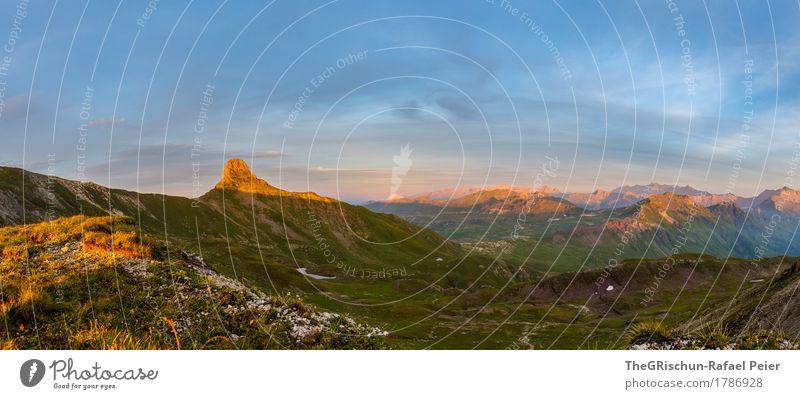 Spitzmeilen Panorama Umwelt Natur Landschaft blau braun gelb gold grün orange Schweiz Berge u. Gebirge Gipfel Sonnenuntergang Sonnenstrahlen Gras Aussicht