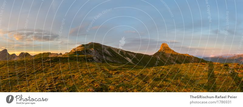 Spitzmeilen Umwelt Natur Landschaft blau braun gelb gold grün orange Gipfel Stimmung Berge u. Gebirge Schattenspiel Wiese Außenaufnahme Romantik Bergkette
