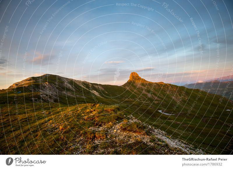 Spitzmeilen Umwelt Natur Landschaft Schönes Wetter blau gelb gold grün Berge u. Gebirge Gipfel Alpen Schweiz Außenaufnahme Gras Lichtspiel Wolken Bergkamm schön