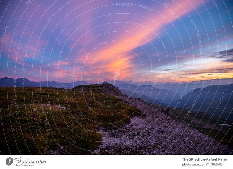 Stimmung in den Bergen Umwelt Natur Landschaft blau braun gelb gold violett orange rosa Abenddämmerung Wolken Schweiz Berge u. Gebirge Gras Felsen Außenaufnahme