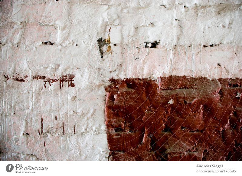 Wandfarbe weiß rot Farbe Mauer braun Fassade Fleck Putz Rechteck Anstrich