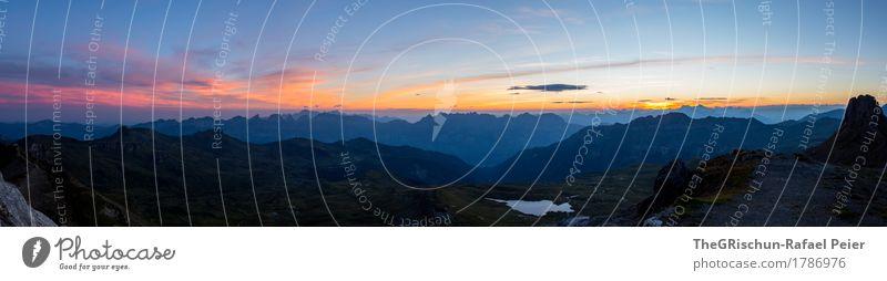 Alpenpanorama Umwelt Natur Landschaft blau gelb violett orange rosa schwarz spitzmeilen Schweiz Berge u. Gebirge Himmel Morgendämmerung Silhouette Gipfel