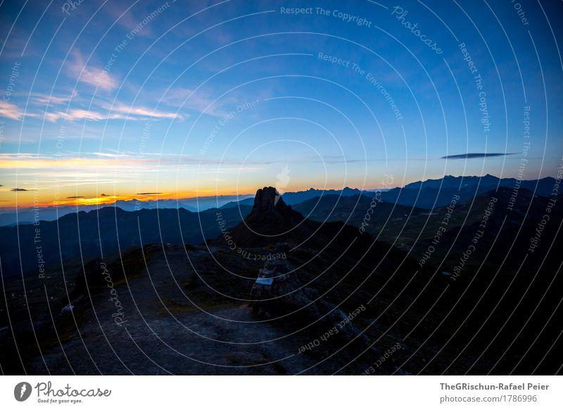 Spitzmeilen Umwelt Natur Landschaft blau orange schwarz Schweiz Alpen Berge u. Gebirge Silhouette Sonnenaufgang Außenaufnahme Aussicht Panorama (Aussicht)