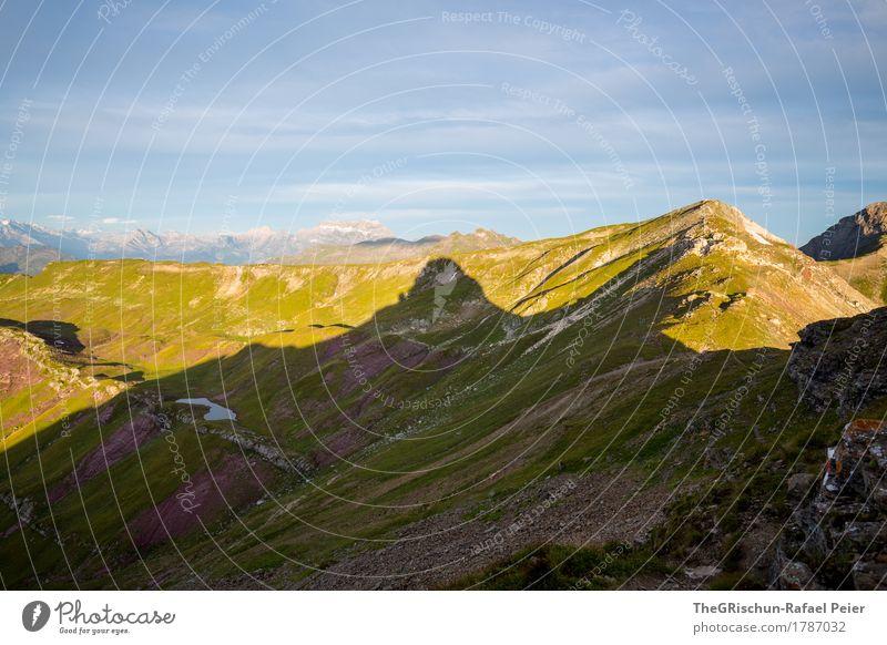 Silhouette Umwelt Natur Landschaft blau grün rot schwarz Schattenspiel Gipfel Bergkamm Aussicht spitzmeilen Panorama (Aussicht) Berge u. Gebirge Schweiz