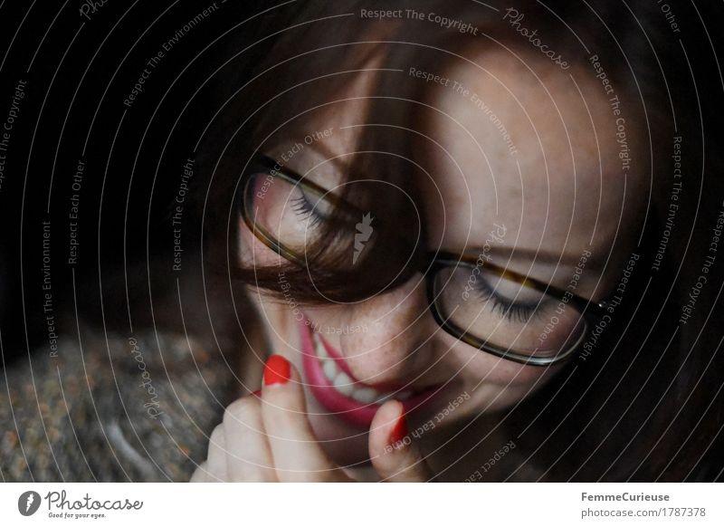 Glück_1787378 Mensch Frau Jugendliche Junge Frau rot 18-30 Jahre Erwachsene feminin Stil lachen braun Zufriedenheit elegant Erfolg Lächeln