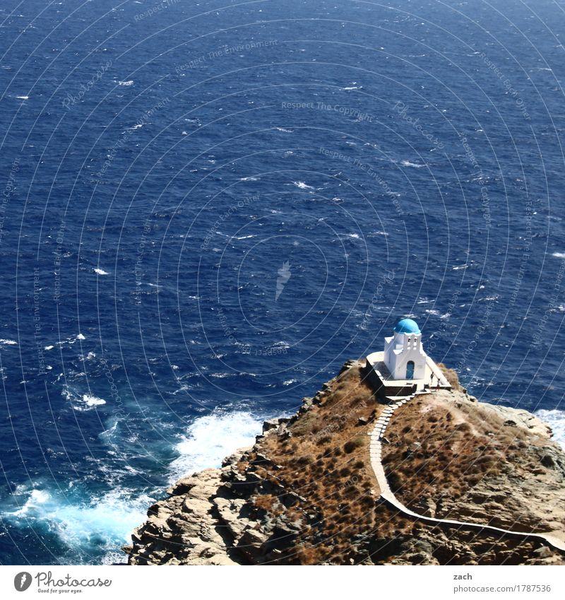 Point of no Return Ferien & Urlaub & Reisen Sommer Sommerurlaub Meer Insel Wellen Wasser Felsen Küste Kirche Treppe blau Glaube Religion & Glaube Ägäis