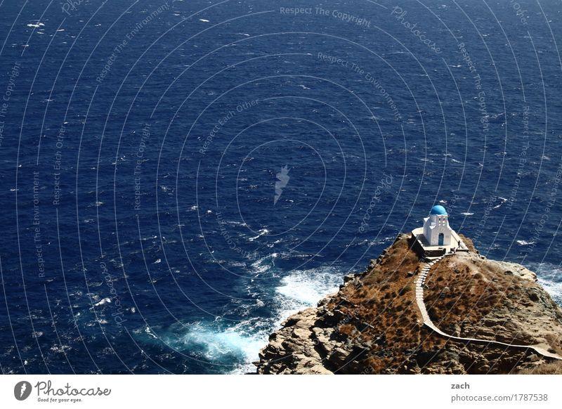 Nah am Wasser gebaut Ferien & Urlaub & Reisen Sommerurlaub Felsen Wellen Küste Meer Ägäis Mittelmeer Insel Kykladen Siphnos Sifnos Griechenland Kirche Kapelle