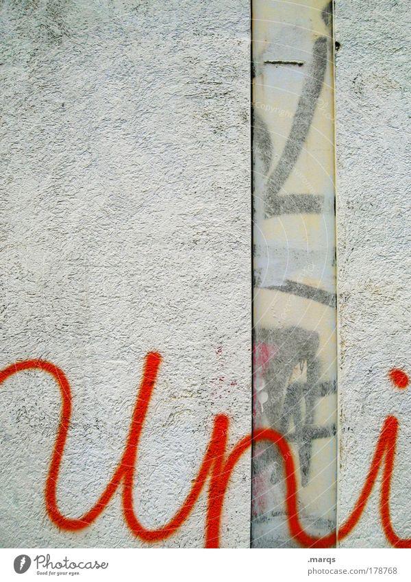versität weiß rot Wand Graffiti Mauer dreckig Fassade Beginn Studium Schriftzeichen Lifestyle einzigartig Bildung Student Zukunftsangst Subkultur