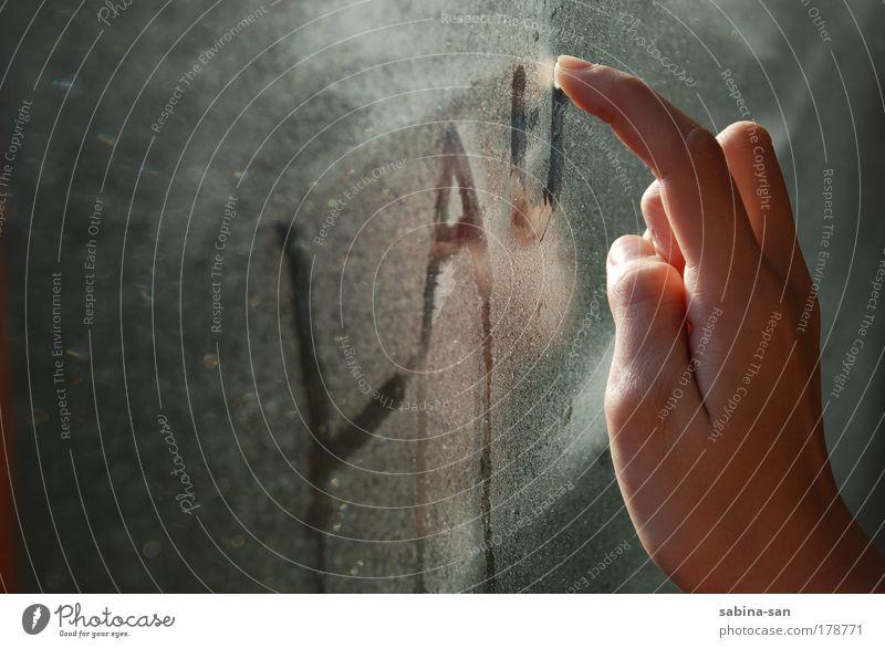 Lauer Morgen Kind Hand Winter ruhig kalt Stimmung Kindheit Nebel Finger Schriftzeichen festhalten Sammlung 13-18 Jahre Fensterscheibe 8-13 Jahre lau