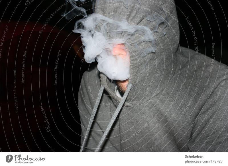we be burnin' Mensch weiß ruhig schwarz außergewöhnlich maskulin Zufriedenheit Nase Risiko Rauchen Rauch Bart Identität Lust Pullover Kapuze