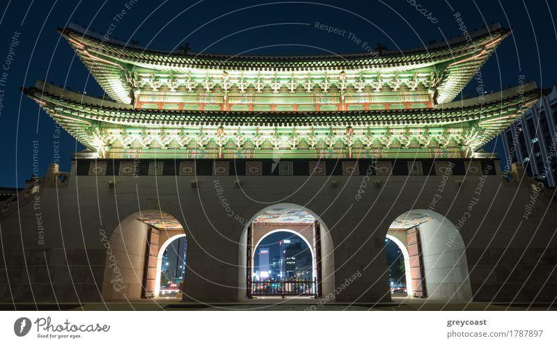 Belichtetes Gwanghwamun-Tor in der Nacht Seoul, Südkorea Ferien & Urlaub & Reisen Tourismus Sightseeing Stadt Palast Architektur historisch Romantik gwanghwamun