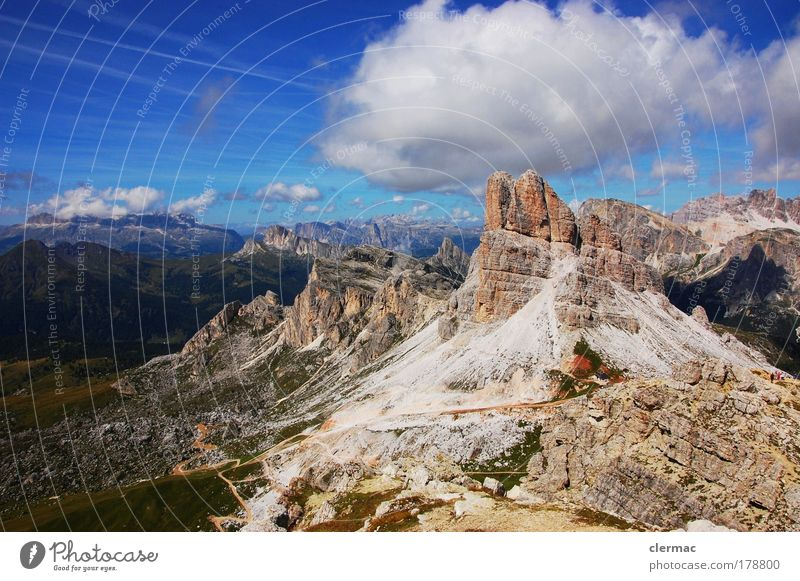 dolomiten monte averau Natur Himmel Sonne Sommer Freude ruhig Wolken Berge u. Gebirge Landschaft Umwelt Erfolg Felsen Lebensfreude Gipfel Schönes Wetter
