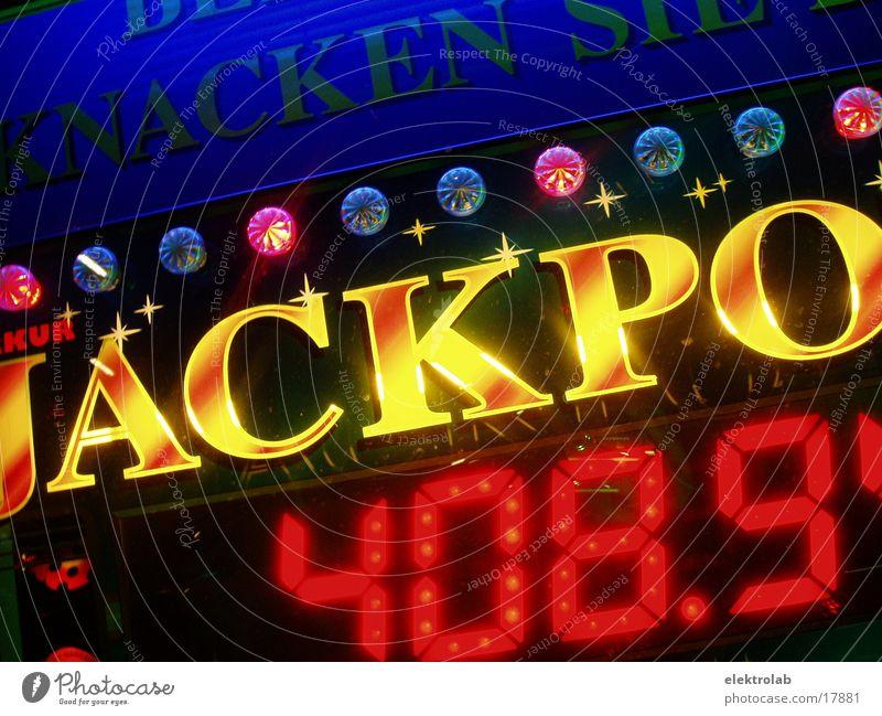 Jackpot Bestenliste Gewinnspiel Neonlicht gelb rot Ziffern & Zahlen mehrfarbig Elektrisches Gerät Technik & Technologie jackpot blau Digitalfotografie