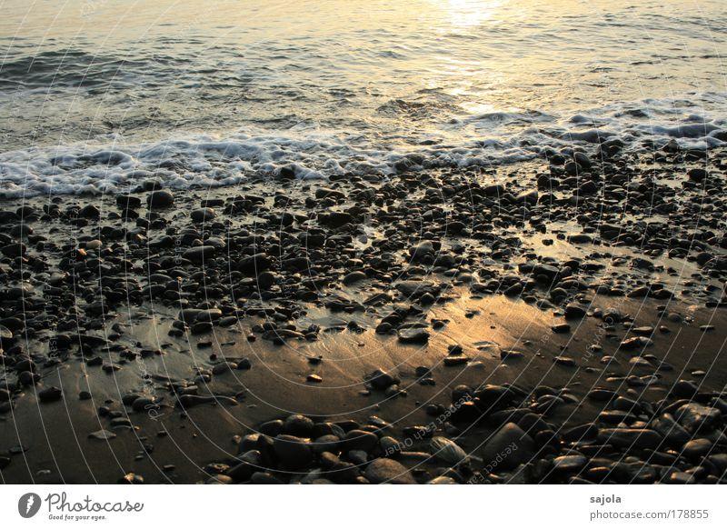 kiesel am strand Natur Wasser Meer Strand Ferien & Urlaub & Reisen Bewegung Stein Sand Stimmung Wellen Küste Umwelt nass Tourismus Sehnsucht Urelemente