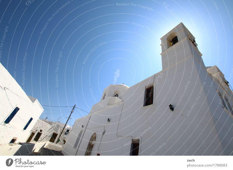 Altstadt Wolkenloser Himmel Schönes Wetter Meer Mittelmeer Ägäis Insel Kykladen Milos Griechenland Dorf Stadtzentrum Haus Kirche Platz Mauer Wand Fassade
