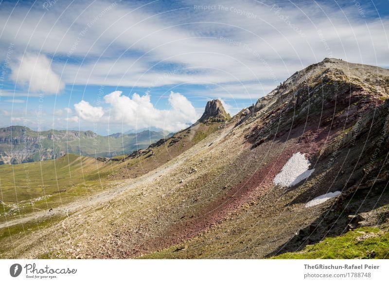 Gebirge Umwelt Natur Landschaft blau rot schwarz weiß Stein Schnee Schweiz Alpen Berge u. Gebirge spitzmeilen Wolken Schatten Geröllfeld Außenaufnahme wandern