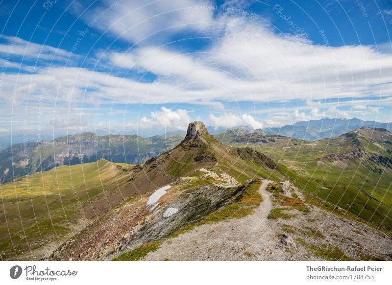 Bergkamm Umwelt Natur Landschaft blau braun grau grün Wege & Pfade wandern Berge u. Gebirge Schnee Stein Spitzmeilen Schweiz Aussicht Panorama (Aussicht)