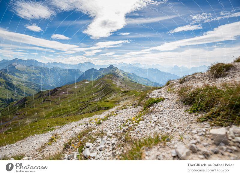 Berge Umwelt Natur Landschaft blau braun grün schwarz weiß Berge u. Gebirge Stein Gras Himmel Aussicht Bergkette Wolken Schweiz Alpen Wege & Pfade Farbfoto
