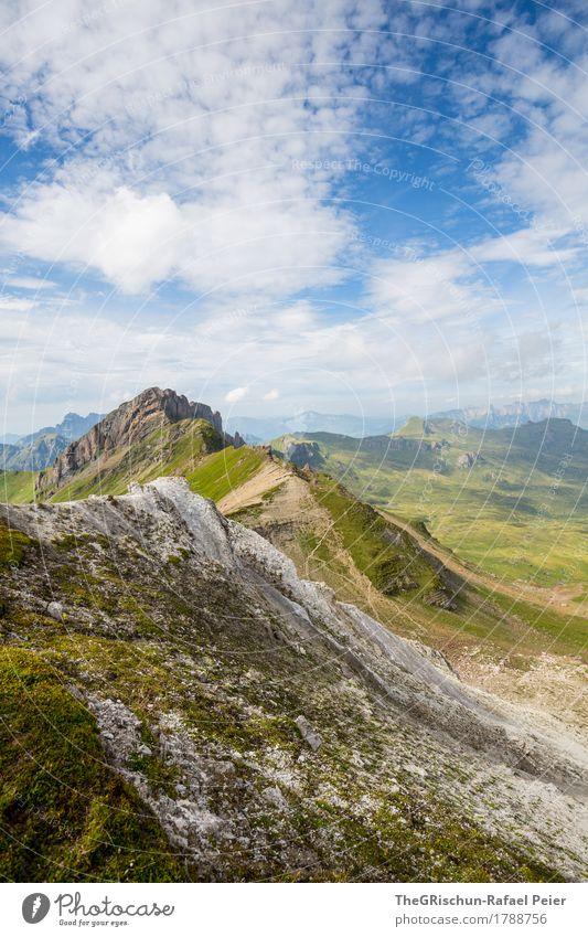 Gebirge Umwelt Natur Landschaft Himmel Wolken blau grün silber weiß Berge u. Gebirge Alpen Schweiz Gipfel Bergkette Geröll Farbfoto Außenaufnahme Menschenleer