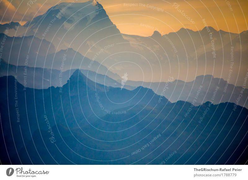 Episch Umwelt Natur Landschaft blau grau orange schwarz weiß Berge u. Gebirge Außenaufnahme Sonnenuntergang Stimmung Licht Schatten Silhouette
