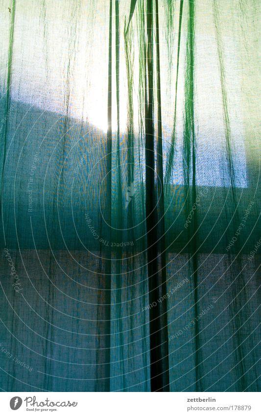 Morgens Sommer dunkel Fenster Wohnung Häusliches Leben geheimnisvoll Vorhang Schutz Gardine Textilien Wetterschutz Textfreiraum Fensterkreuz