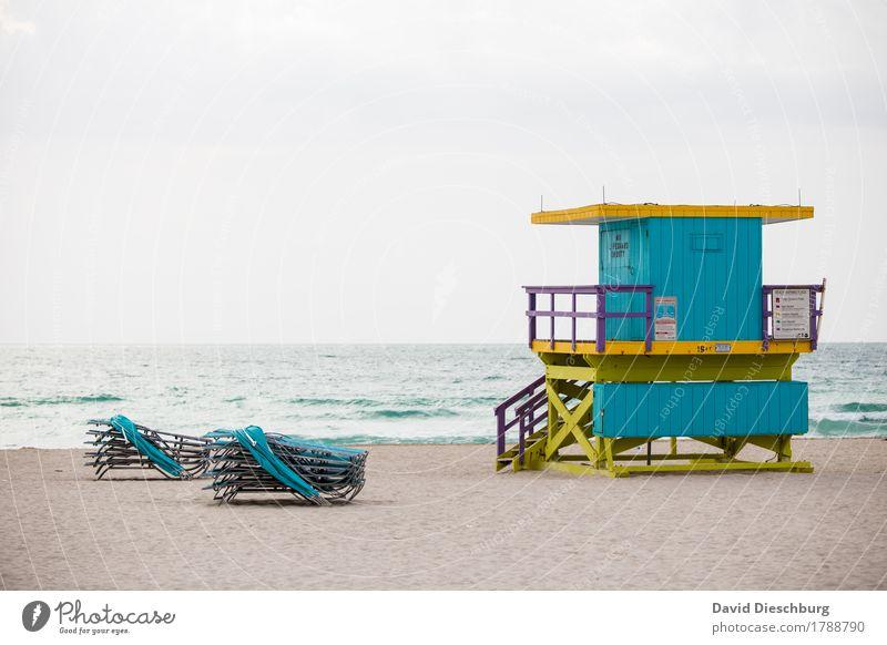 Miami Beach Ferien & Urlaub & Reisen Ferne Sommerurlaub Sonnenbad Strand Meer Insel Wellen Natur Küste Nordsee Ostsee blau gelb türkis weiß Rettungsschwimmer