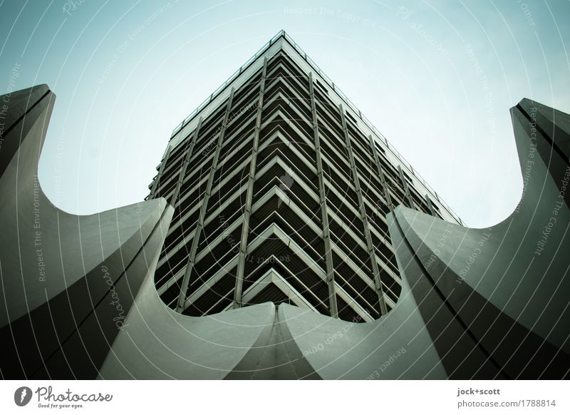 Ecklösung am Alex Design Architektur Berlin-Mitte Alexanderplatz Hochhaus Bürogebäude Fassade Ecke Dekoration & Verzierung Beton eckig groß hoch retro Stadt