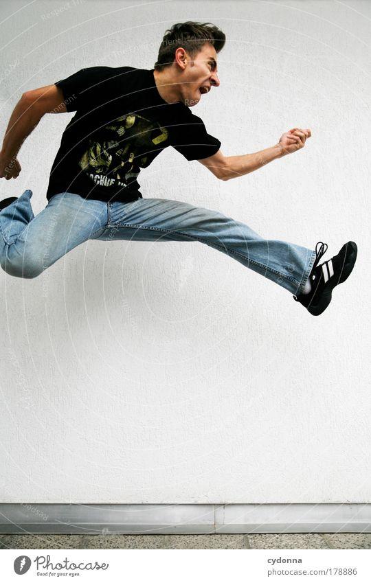 !3OO Mensch Mann Jugendliche Freude Erwachsene Leben Gefühle Freiheit Bewegung springen träumen Gesundheit Kraft Freizeit & Hobby fliegen elegant