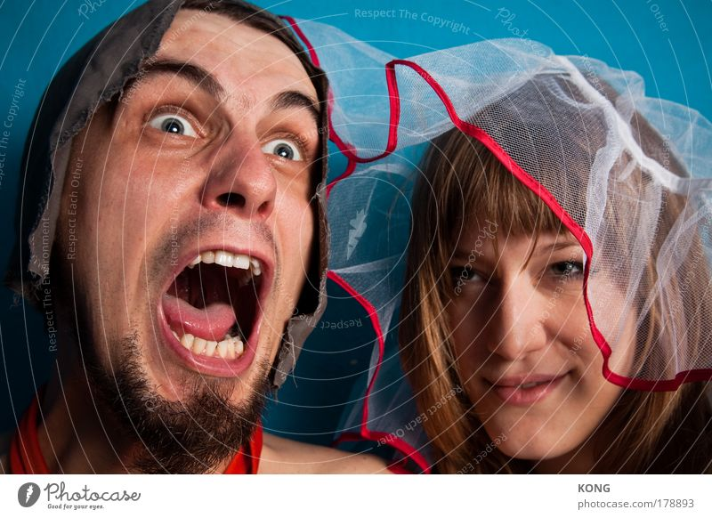 besessen Mensch Jugendliche Erwachsene Liebe feminin Junge Frau Glück Kopf Junger Mann Paar Zusammensein 18-30 Jahre wild maskulin verrückt Fröhlichkeit