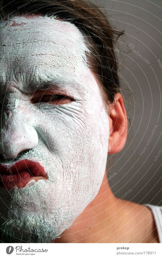 weisse gülle Mensch Mann schön Freude ruhig Erwachsene Gesicht Erholung Kopf Haut maskulin bedrohlich einzigartig Wellness Wut Todesangst