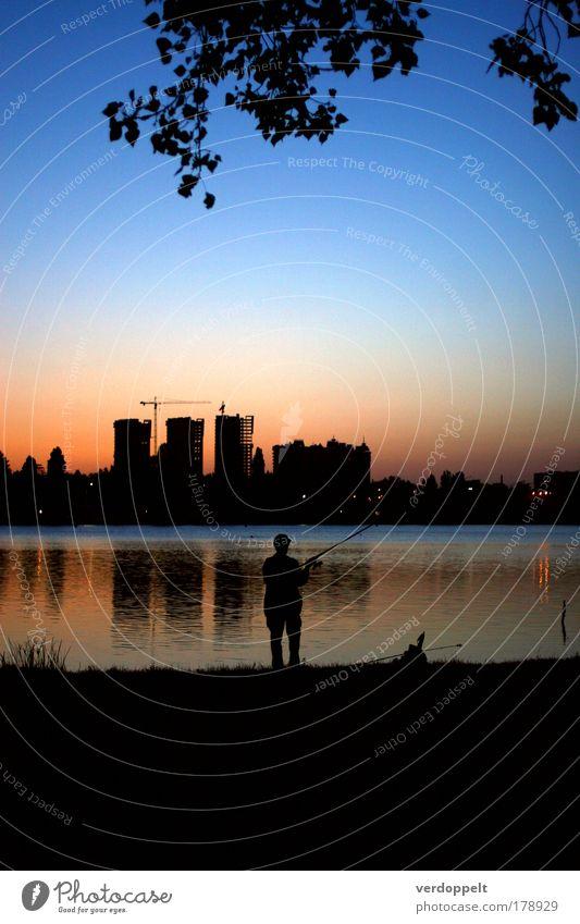 großer Fisch Farbfoto mehrfarbig Außenaufnahme Abend Dämmerung Nacht Licht Schatten Silhouette Lifestyle Freizeit & Hobby Angeln Nachtleben Mensch maskulin Mann