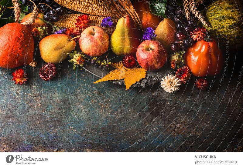 Obst und Gemüse, Herbst Lebensmittel Frucht Apfel Getreide Ernährung Festessen Bioprodukte Vegetarische Ernährung Stil Design Gesunde Ernährung