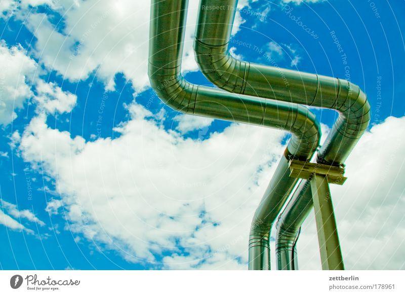 Rohre Gas Himmel Sommer Wolken Ordnung Ecke Güterverkehr & Logistik Wasser Baustelle Röhren Froschperspektive Eisenrohr Erdöl Schönes Wetter Säule Pipeline