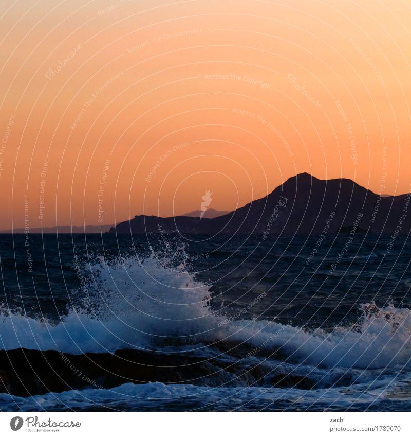 New Wave Natur Wasser Meer Küste Schwimmen & Baden Felsen orange wild Wellen Insel nass Schönes Wetter Wolkenloser Himmel Mittelmeer Griechenland Brandung