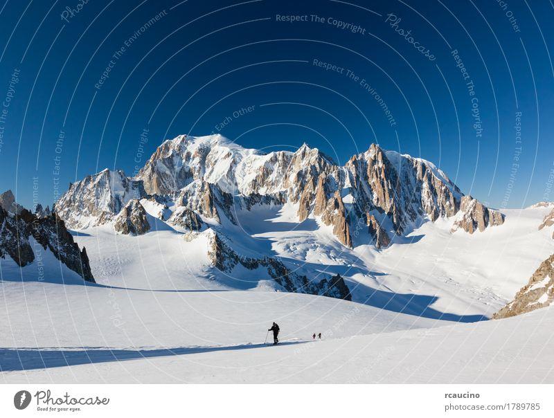 Skibergsteiger auf dem Vallée Blanche-Gletscher, Chamonix, Frankreich schön Ferien & Urlaub & Reisen Tourismus Ausflug Abenteuer Expedition Winter Schnee