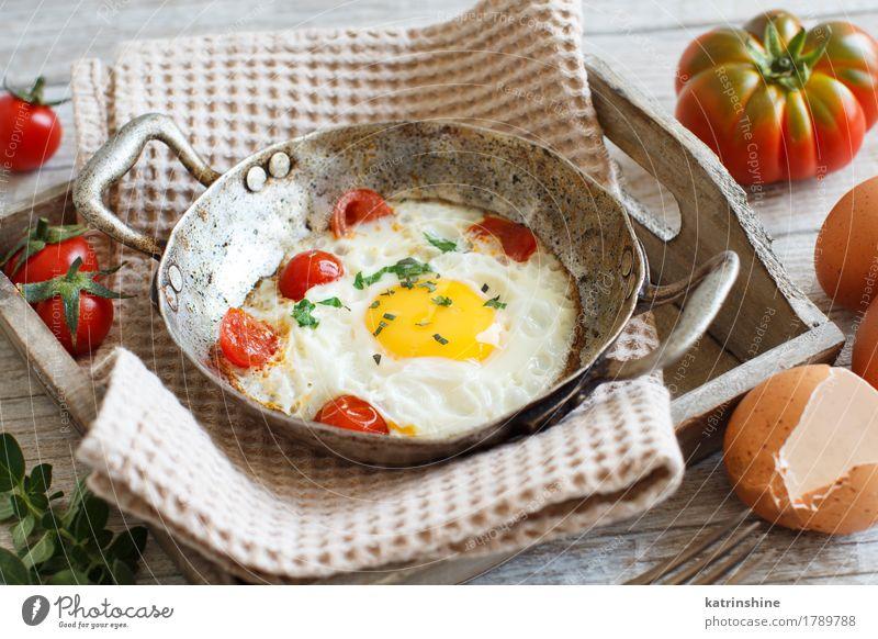 Spiegelei mit Tomaten und Kräutern Lebensmittel Gemüse Ernährung Frühstück Abendessen Pfanne Holz Duft frisch hell gelb grün rot Cholesterin Eierschale braten