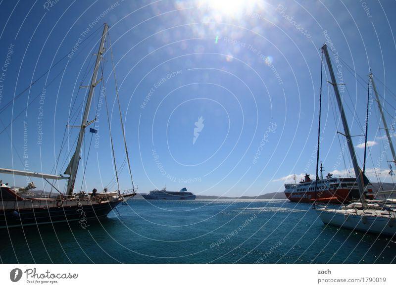 Ihre Tickets, bitte! Ferien & Urlaub & Reisen blau Sommer Wasser Sonne Meer Küste Tourismus Ausflug Insel Schönes Wetter Hafen Wolkenloser Himmel Sommerurlaub