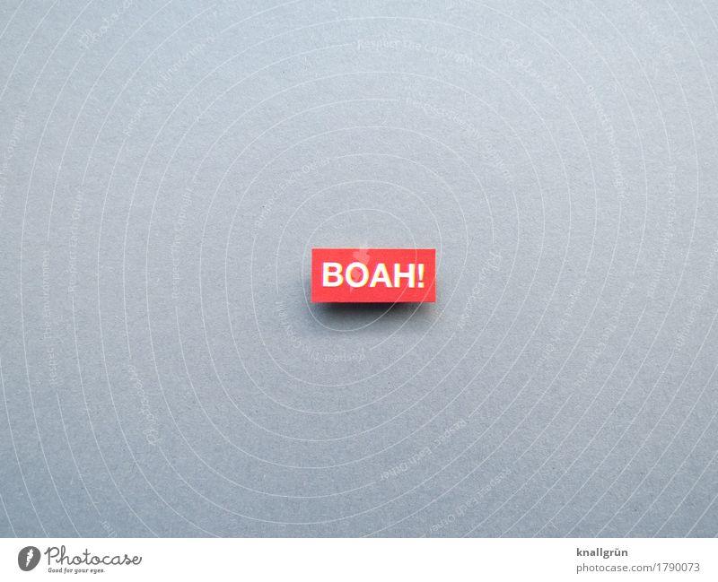 BOAH! Schriftzeichen Schilder & Markierungen Kommunizieren eckig grau rot weiß Gefühle Stimmung Begeisterung Neugier Interesse Überraschung erstaunt Ausruf boah