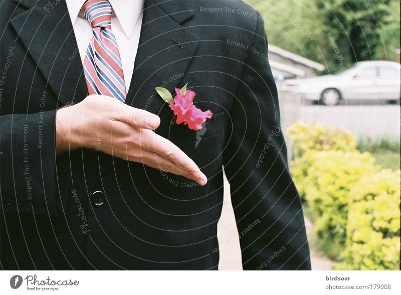 Ballbegleiterin Farbfoto Außenaufnahme Nahaufnahme Tag maskulin Arme Hand Mode Anzug Jacke Krawatte Duft einfach Freundlichkeit klug Vorfreude Begeisterung